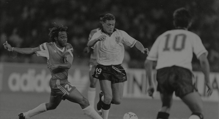 England V Cameroon (3-2) World Cup Italia 90 - Quarter Final England's Paul Gascoigne Goes On The Attack.