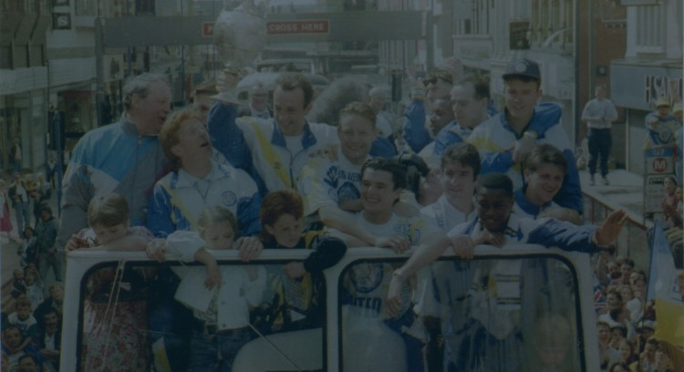 Garry Mcallister With Fellow Leeds Fc Team Members Holds The Football League Championship Trophy As They Make Their Victory Parade Through Leeds City Centre 1992.